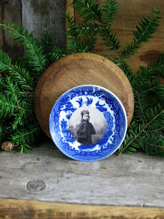 toy blue willow plate with a photo print
