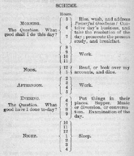 Страничка из личного дневника Франклина - план на день
