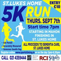 5k race in Mahon, Cork City...Thurs 7th Sept 2017