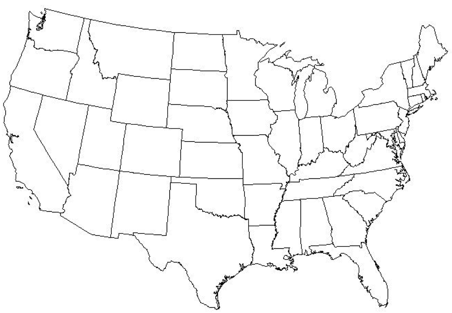This is a picture of Shocking Us Map Blank Printable