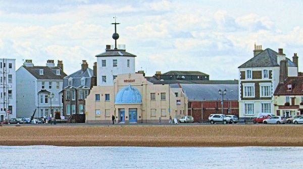 modern photo of Time Ball Tower and Regent Cinema, taken from Deal Pier