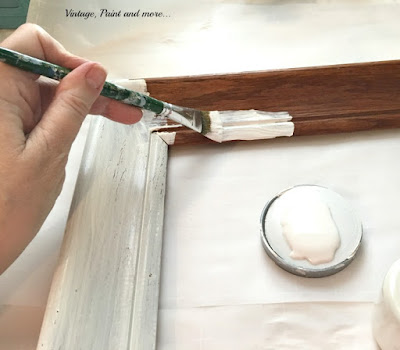 painting a thrifted frame with Valspar's Cream Delight