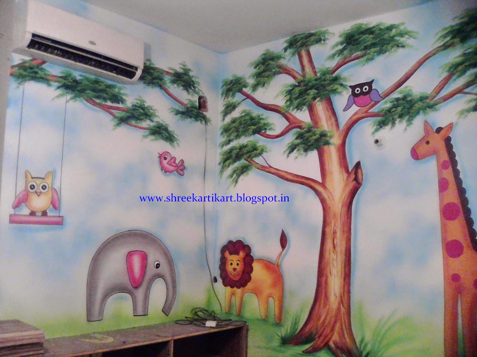 Wall Design Painting 3d : Play school wall painting d cartoon