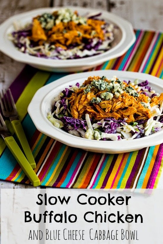 Slow Cooker Buffalo Chicken and Blue Cheese Cabbage Bowl (Low-Carb, Gluten-Free) found on KalynsKitchen.com