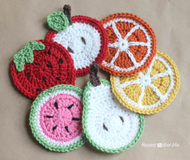 Crochet Fruit Coasters Pattern Repeat Crafter Me Fascinating Crochet Coaster Pattern