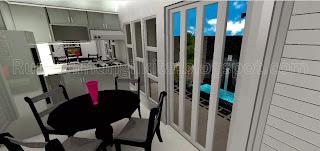 kitchen set mungil minimalis abu-abu menyatu dengan ruang makan