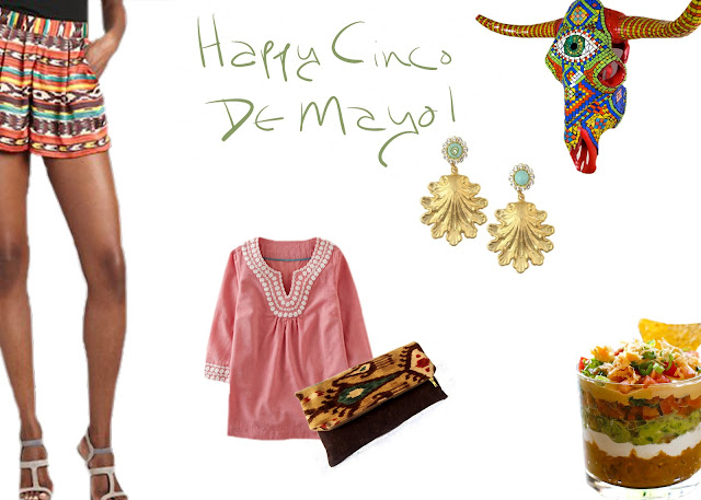 Cinco de Mayo Shorts, Tunic, Clutch, Wall Art, Recipe, Earrings