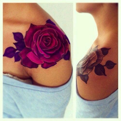 ♥ ♫ ♥ Cute Purple Rose Tattoos For Girls On Shoulder ♥ ♫ ♥