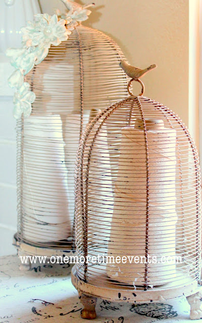 Plaster of Paris Flowers and Bird Cages at One More Time Events.com