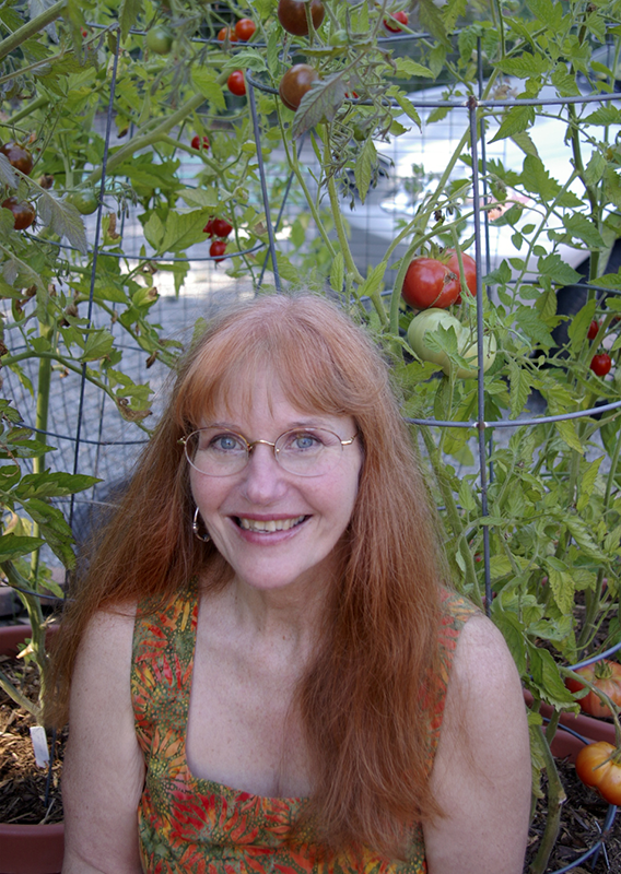 Portrait with Container Tomato Garden in Background