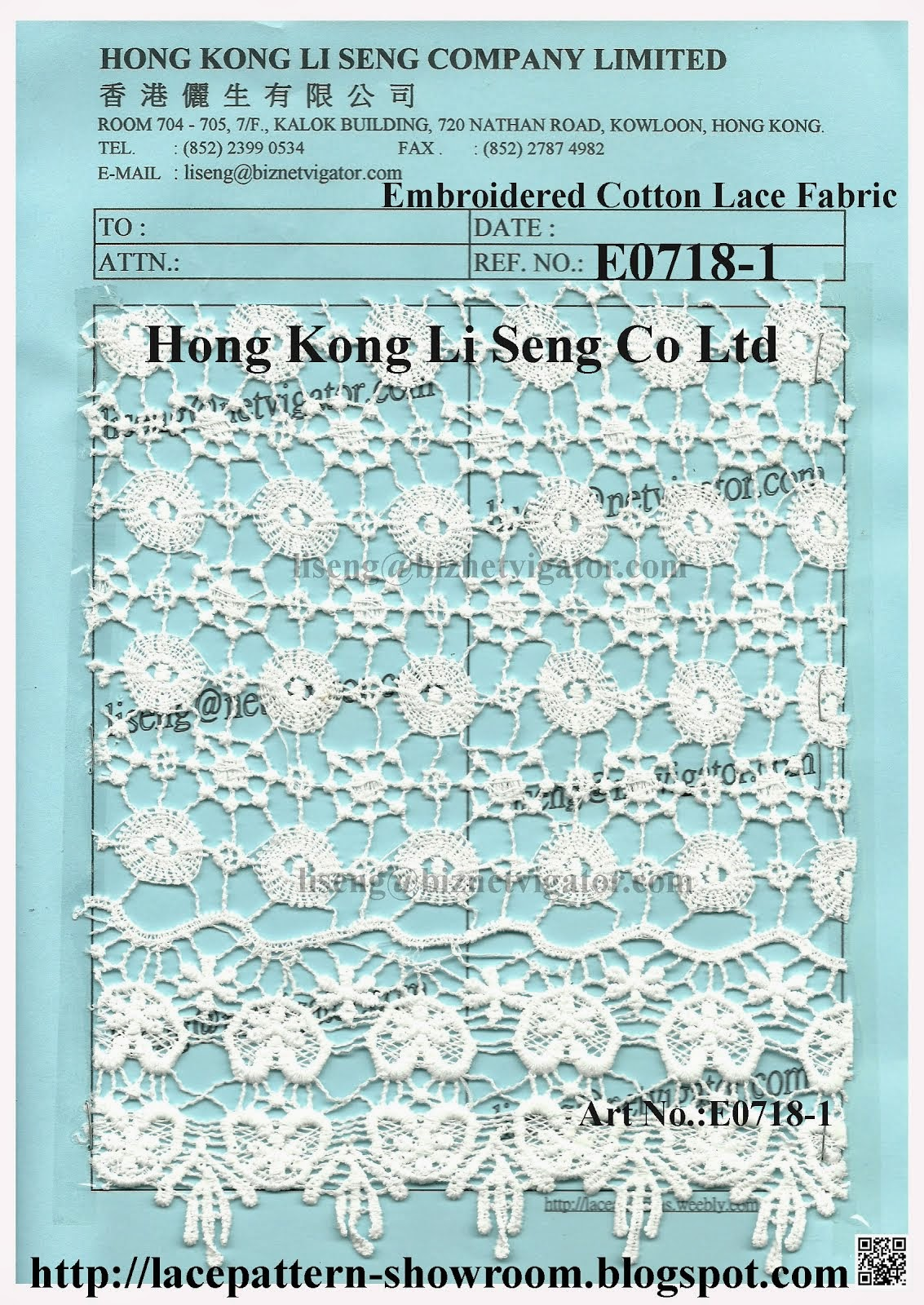 "Embroidered Cotton Lace Fabric Manufacturer Wholesaler and Supplier - "" Hong Kong Li Seng Co Ltd """
