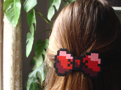 Red and Black 8 Bit Pixel Hair Bow