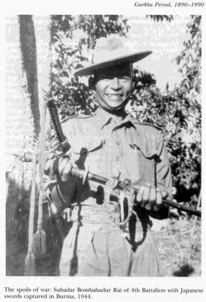 The spoils of war Subadar Bombahadhur Rai of 4th Battalion with Japanese sword captured in Burma 1944