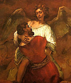Jacob Wrestling with the Angel - Painting by Rembrandt Van Ryn