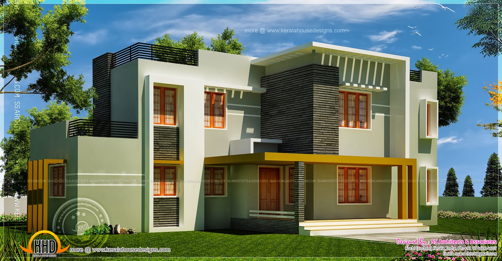 Luxury contemporary villa in 422 square yards home for Villa plans in kerala