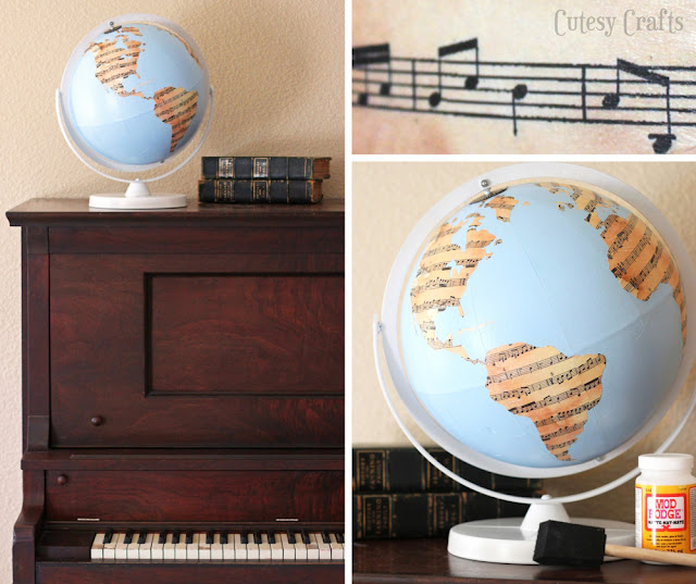 Sheet Music Globe via Cutesy Crafts, featured at Spool and Spoon