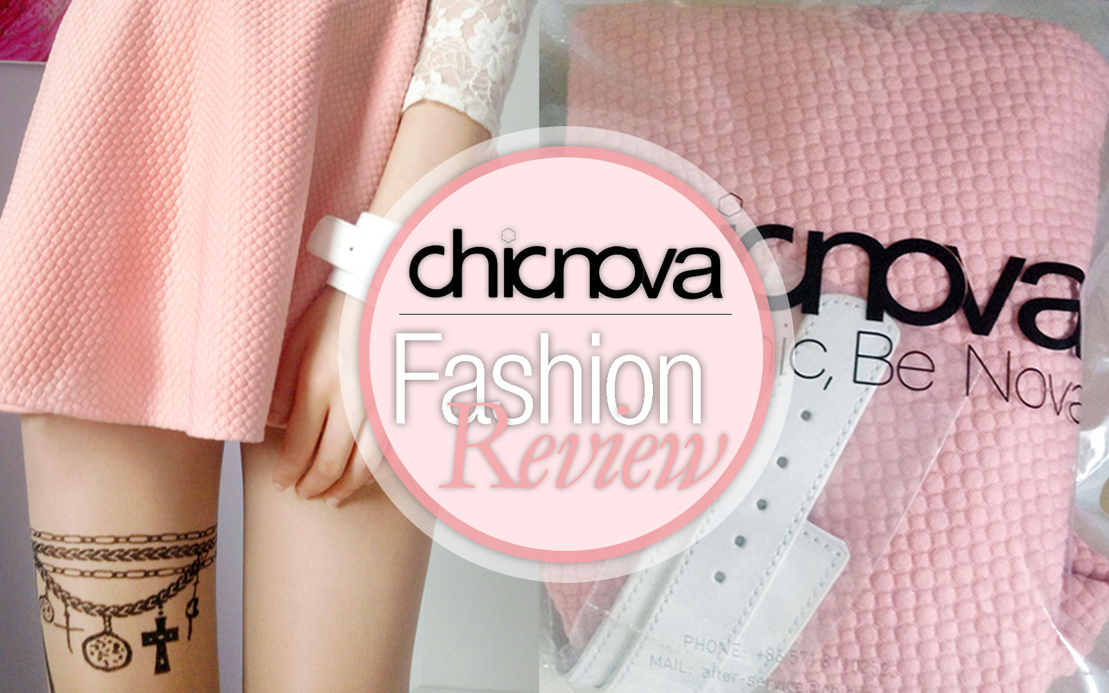Chicnova review: pastel pink skater skirt, patterned chain & wings tights, and white buckled leather bracelet