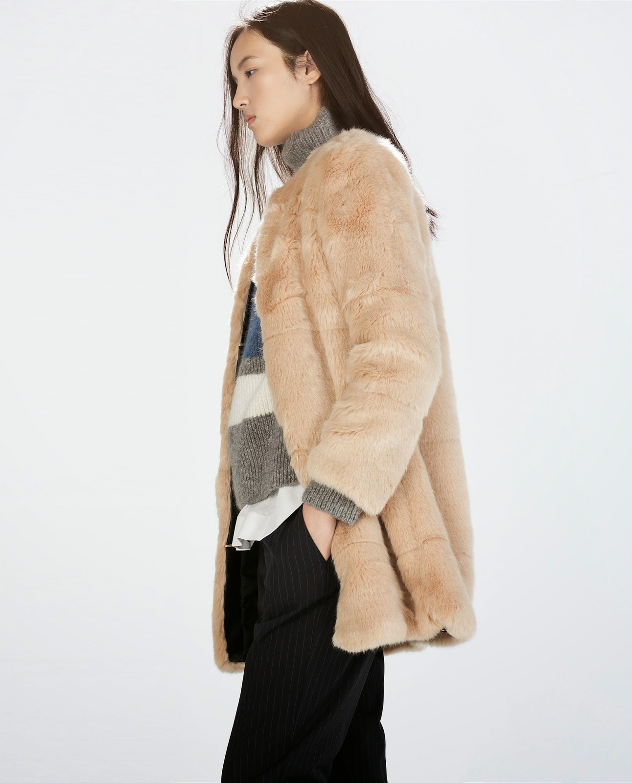 zara cream fur coat