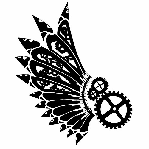 Wings and gears biomechanical (steampunk) tattoo stencil