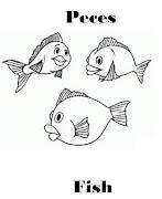 Imagenes para dibujar en Ingles y español: Animales Marinos para colorear (peces)