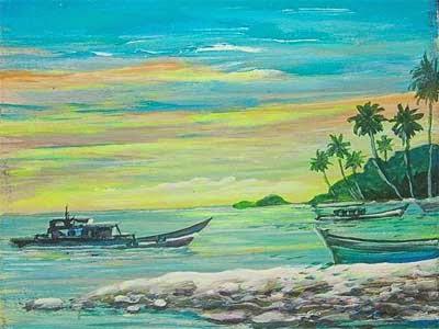 Lukisan Pemandangan Laut dan Perahu Nelayan