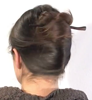 One minute french twist with a stick hairstyle tutorial