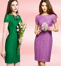 New Fashion Short-sleeved Berry Inge OL Temperament Lace Dress