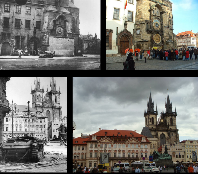 Staromestske Namesti Then and Now
