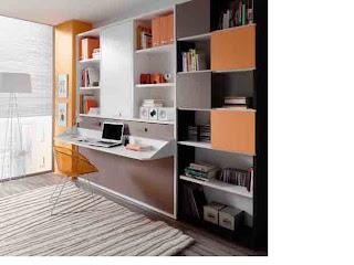 cama plegable con mesa de estudio y estantería