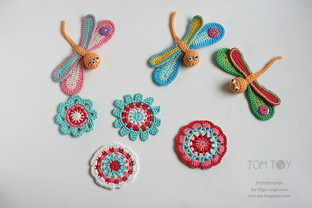 Handmade crochet applique - colorful dragonfly