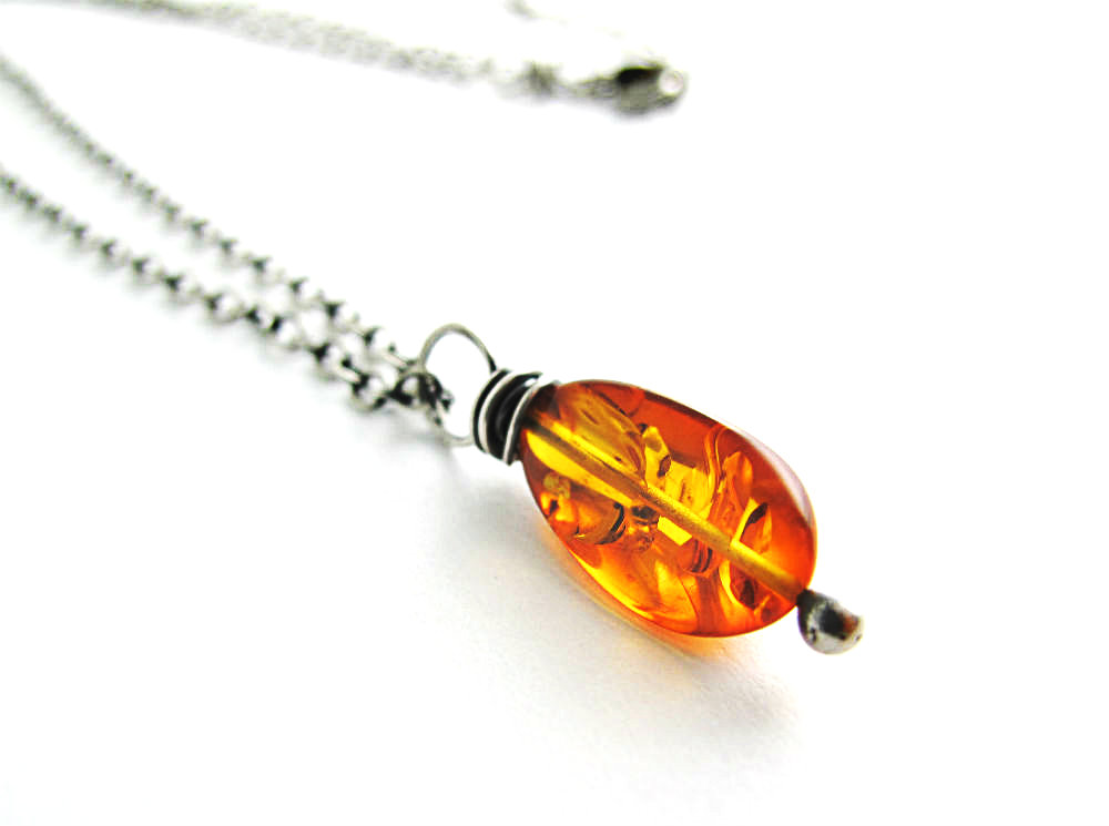 Healer One of a Kind Amber Necklace by Beth Hemmila of Hint Jewelry