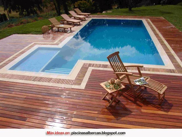 Piscinas con bordes de madera piscinas y albercas fotos for Bordes de piscina