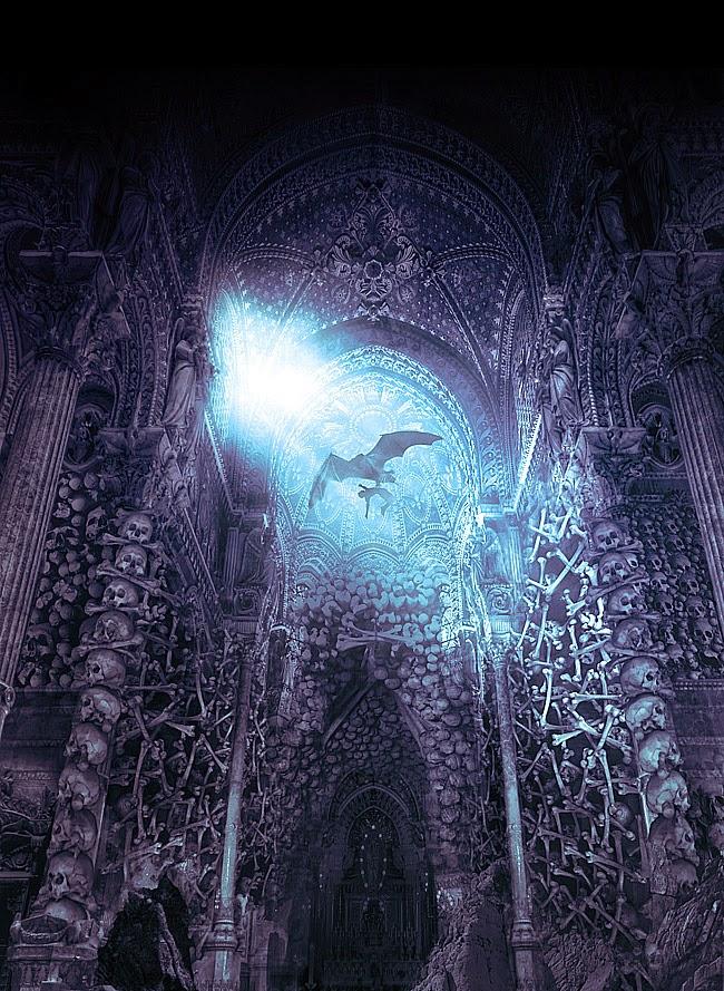 illustration de Sylvain «Tohad» Sarrailh représentant une creature volante dansune cathédrale de cranes