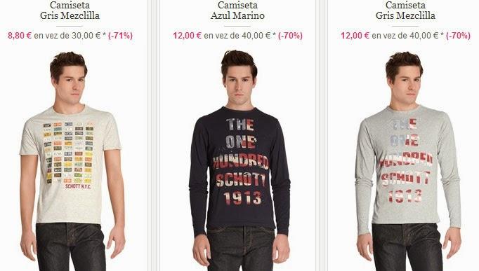 Oferta de camisetas de manga corta o larga de Schott