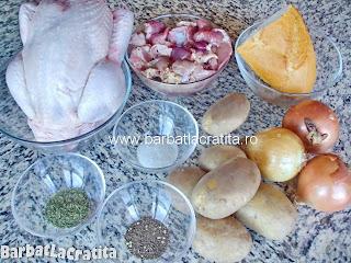 Pui umplut la cuptor cu ficatei si pipote ingrediente reteta