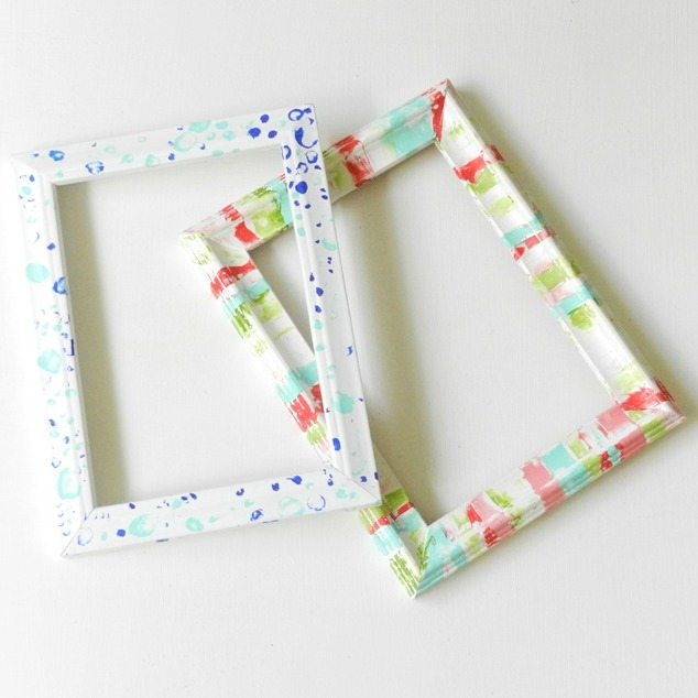 Upcycled messy painted frames