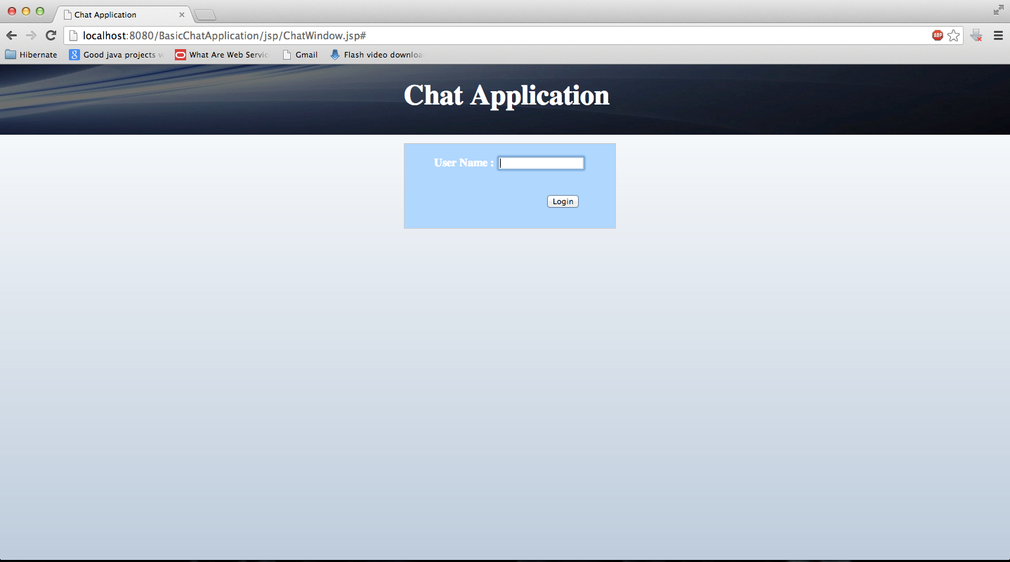 Javaandroid tutorials chat application in java using jsp and servlet chat application in java login screen baditri Choice Image