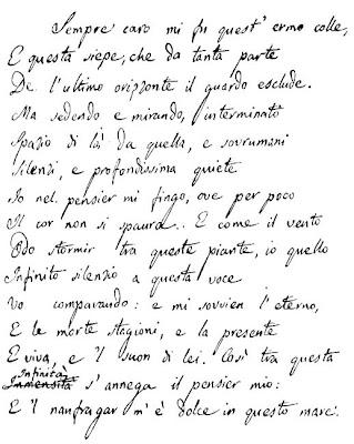 L'infinito (Giacomo Leopardi) Manuscrit original