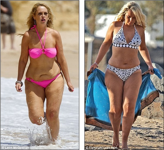 Changing shapes: Josie has gained two stone since last year, when she showed off her bikini body as a size 12 '