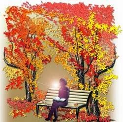 紅葉を背に読書するシルエットの秋イラスト無料ダウンロード