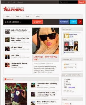Easy News - Responsive Blogger Template