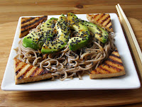 Spicy Ginger and Sesame Soba Noodles with Pan Fried Tofu and Avocado