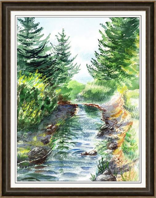 wood river California watercolor