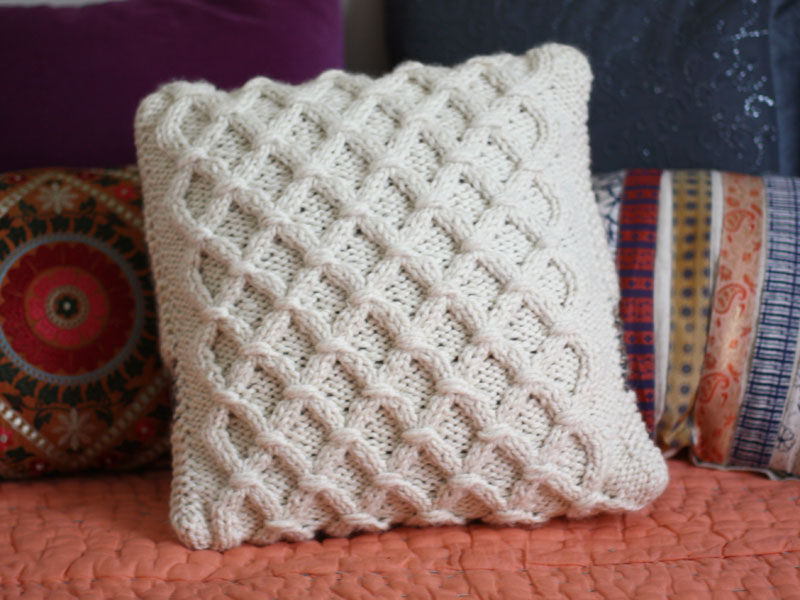 Knitted Pillow Patterns : Cinnamon Teal Handmade: Cabled Pillow