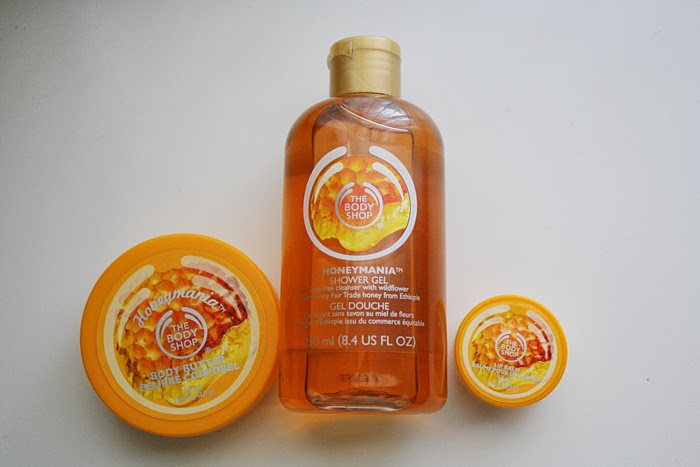 The Body Shop Honeymania lip butter body butter shower gel
