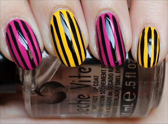 Pink and Yellow Nail Art with Black Stripes