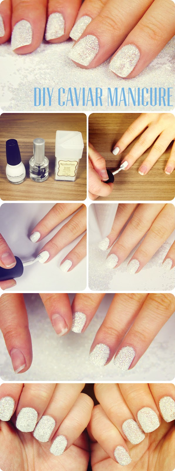 How to get a DIY Clear micro beads manicure tutorial