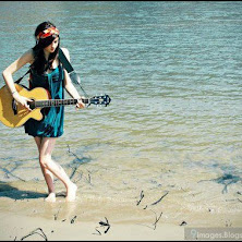 girl, beach, guitar, sexy