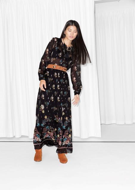 black bird print dress, black flower print dress, black stories print dress,