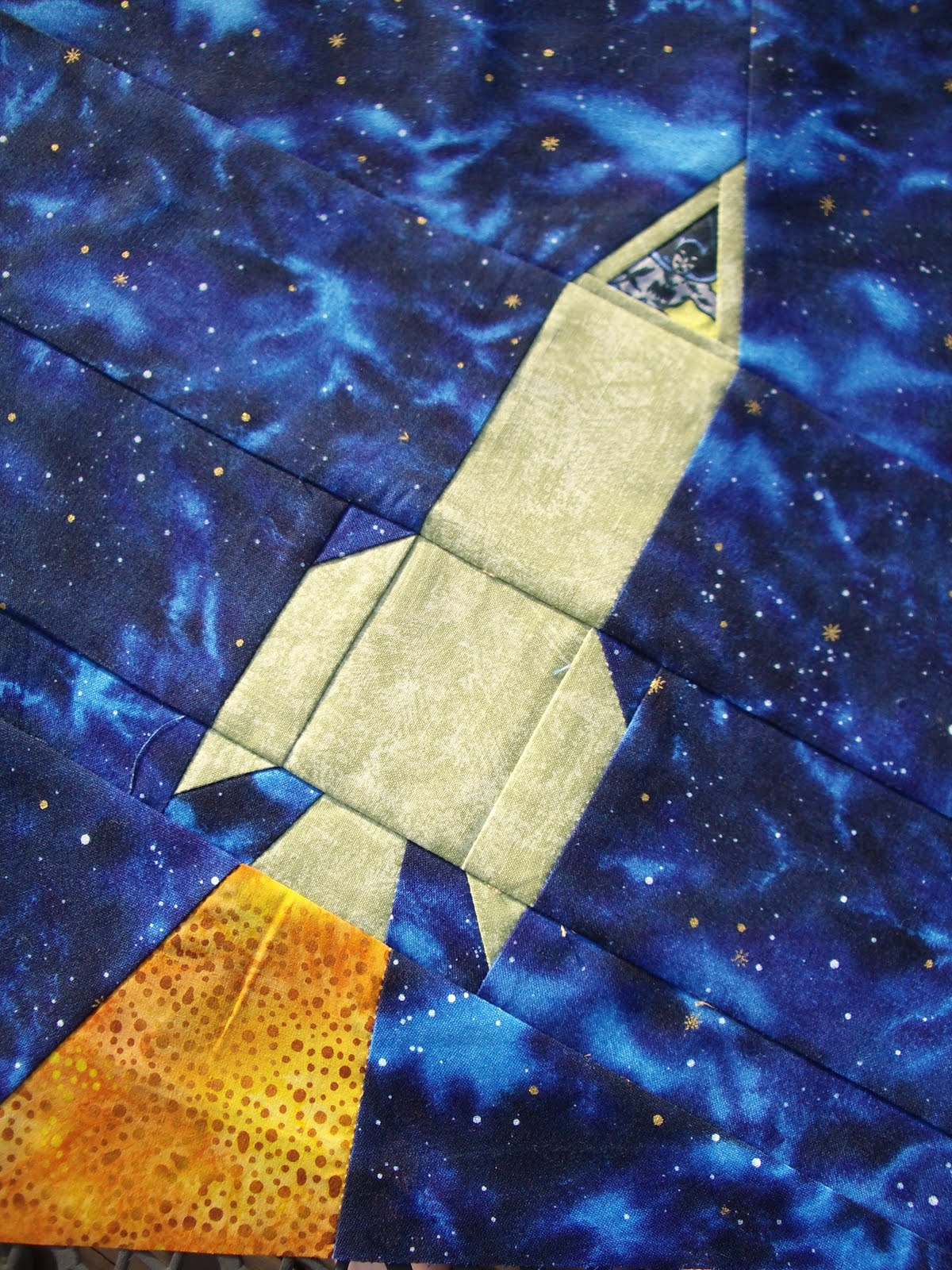 Handicrafty sisters paper pieced rocket for Outer space paper